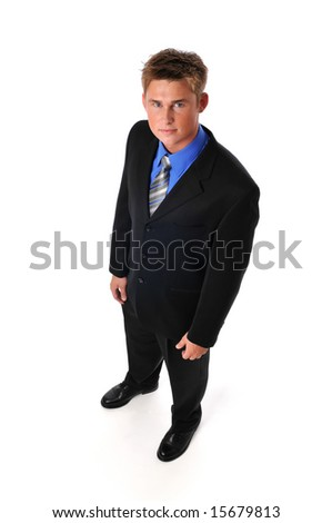 Young businessman standing isolated on a white background