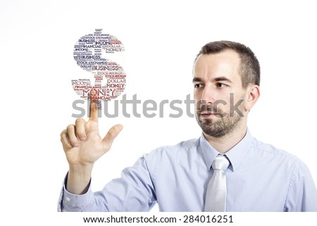 "Young businessman touching ""Earn Money"" word cloud - isolated on white background - stock photo"