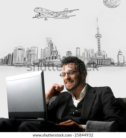 Young businessman using a laptop on a cityscape illustration background