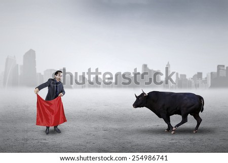 Young businessman using a red cloth to face angry bull, symbolizing business strategy - stock photo