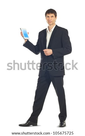 Young businessman using a Tablet computer over white background - stock photo