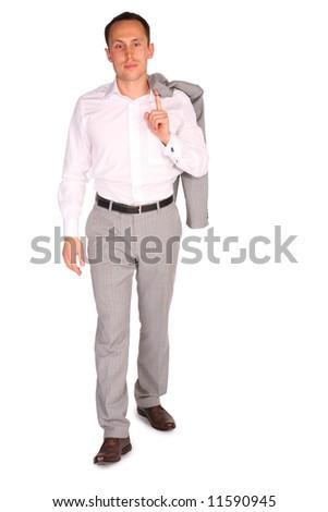 young businessman walks - stock photo