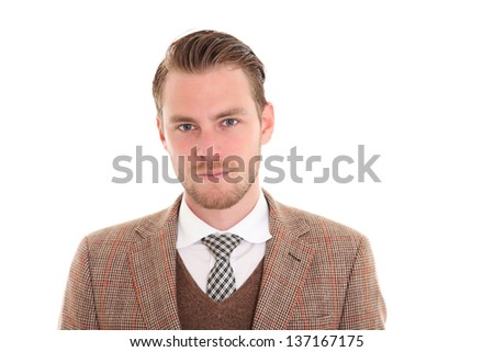 Young businessman wearing a suit and tie. White background. - stock photo