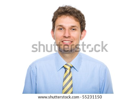 young businessman wearing blue and yellow, studio shoot isolated on white background - stock photo