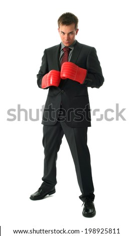 Young businessman wearing boxing gloves isolated on white