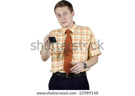 Young businessman, wearing elegant shirt and tie. Showing different hands gesture.