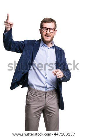 Young businessman wearing glasses and blue jacket on a white background, gesturing energetic, isolation