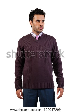 young businessman wearing sweaters isolated on white