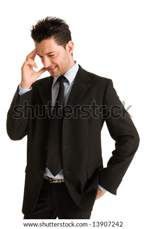 Young businessman who thinks affairs - stock photo
