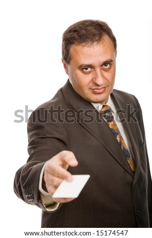 young businessman with a card, focus on the face