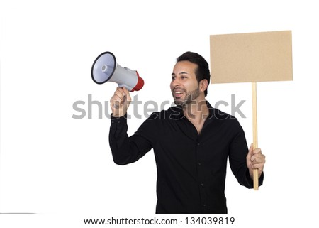 Young businessman with a Megaphone and a poster proclaiming something isolated on white background - stock photo