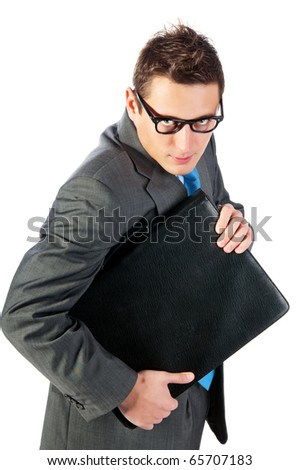 young businessman with a portfolio. Isolated on white - stock photo
