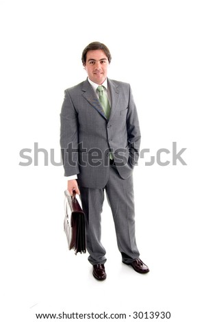 young businessman with a suitcase - stock photo