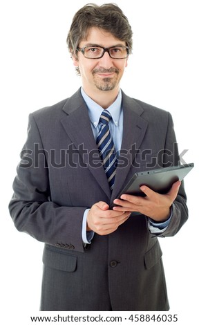 young businessman with a tablet pc, isolated - stock photo