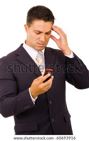 Young businessman with bad news on his cell phone