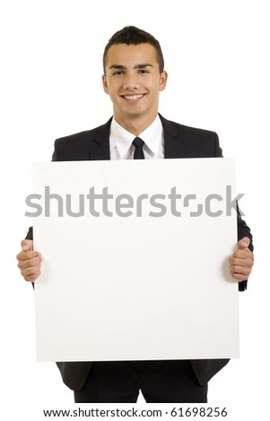 Young businessman with blank board isolated on white