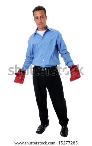Young businessman with boxing gloves isolated over a white background - stock photo