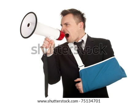 young businessman with broken hand wearing an arm brace shouting by megaphone, series - stock photo