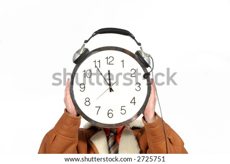 Young businessman with clock, five to twelve, deadline, stress, business, corporate concept. Copy space