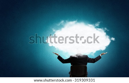 Young businessman with cloud instead of head