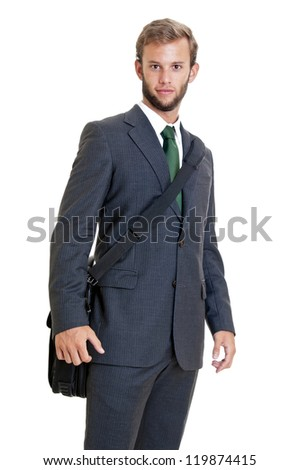 Young businessman with computer case isolated in white