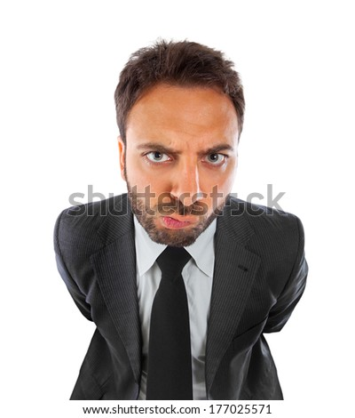 Young businessman with expression of indecision on white background. - stock photo