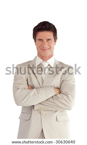 Young Businessman with Folded arms Isolated against white
