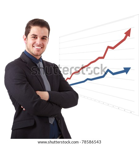 Young businessman with graphs in the background