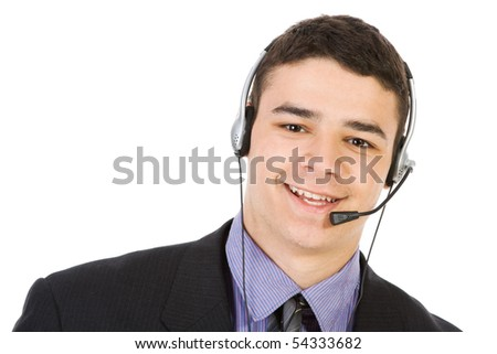 Young businessman with headphones isolate on white