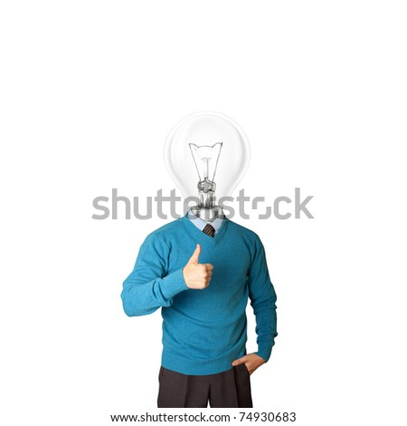 young businessman with lamp-head shows well done - stock photo
