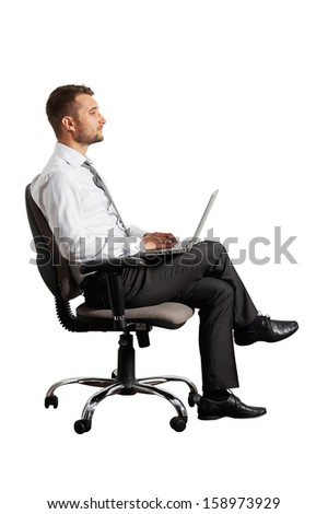 young businessman with laptop. isolated on white background