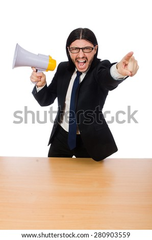 Young businessman with loudspeaker on white - stock photo