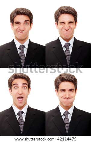 Young businessman with multiple face expressions - stock photo
