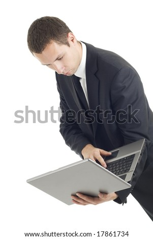 Young businessman with notebook