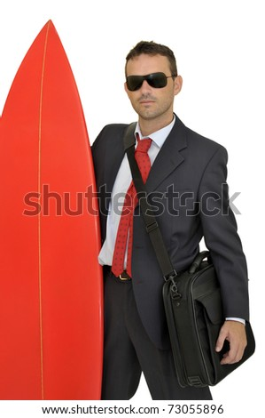 Young businessman with surf board - stock photo