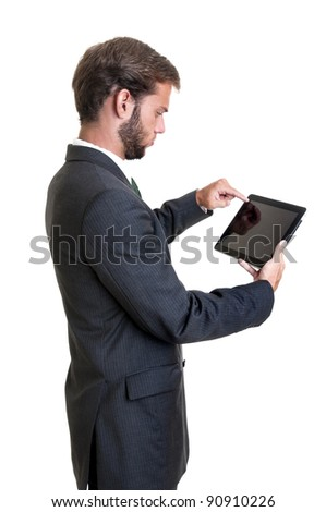 Young businessman with tablet isolated in white