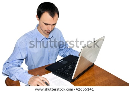 young businessman with the laptop