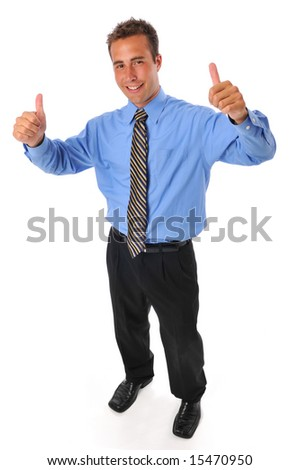 Young businessman with thumbs up gesture against a white background - stock photo