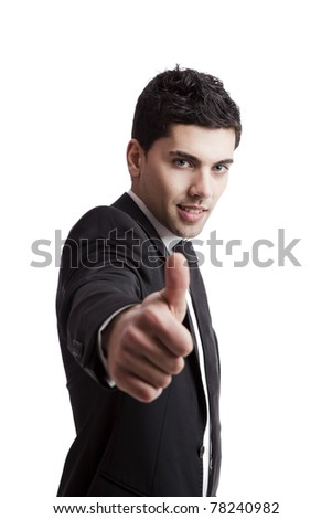 Young businessman with thumbs up isolated over a white background - stock photo