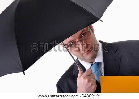Young businessman with umbrella and a yellow folder