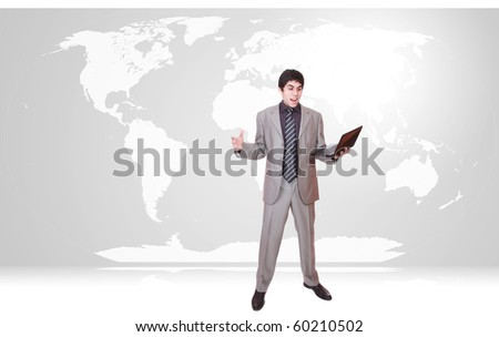 Young businessman with world map background