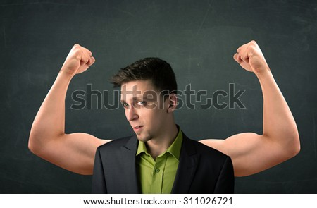 Young businessman wondering with strong and muscled arms concept - stock photo