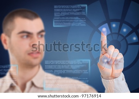 Young businessman working on modern technology - stock photo