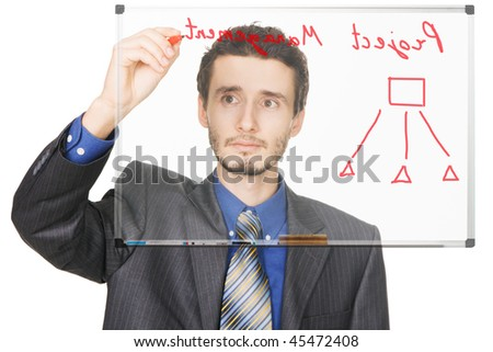 Young businessman writing on whiteboard, face view - stock photo