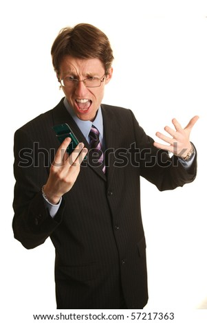young businessman yelling at mobile isolated on white