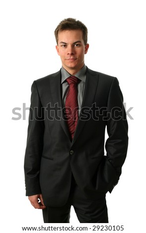 Young businessmen isolated on white - stock photo