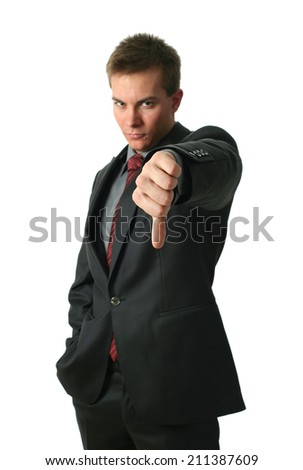 Young Businessmen making his thumb down isolated on white. Hand in focus. - stock photo