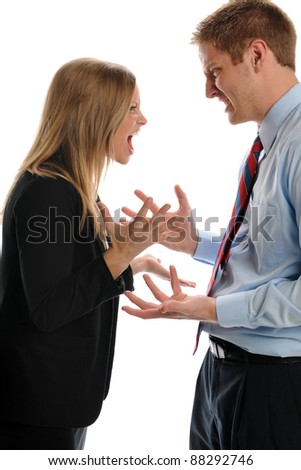 Young Businesspeople Arguing isolated on a white background - stock photo