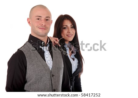 Young businesspeople, man and woman.  studio shot.white background