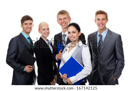 young businesspeople smile, human resource, business people group team, isolated over white background